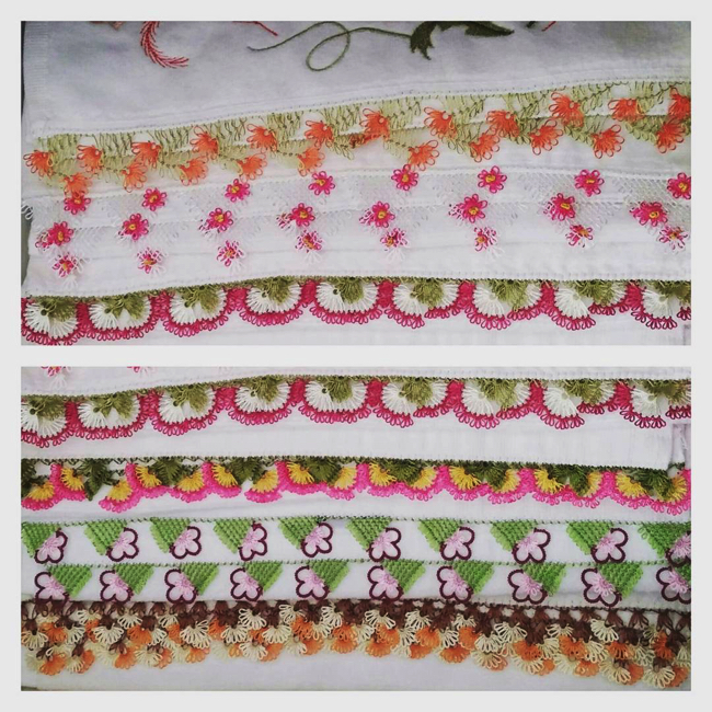 Yeni iğne oyası havlu kenarı dantel örnekleri