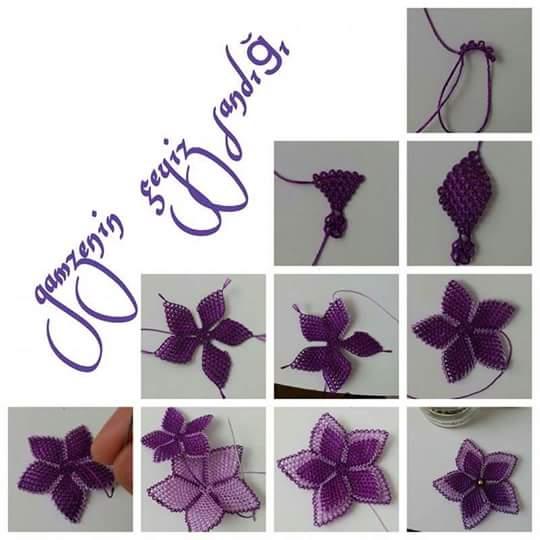 Boncuklu çiçek oyası yapılışı 1
