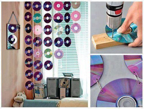 CD'lerden Dekoratif Perde Yapımı
