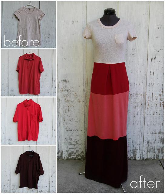 Eski 4 Tişörtten Elbise Yapımı