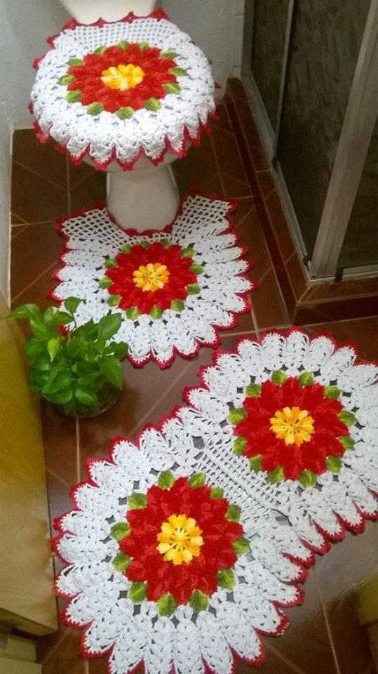 Örgü çiçekli klozet takımı