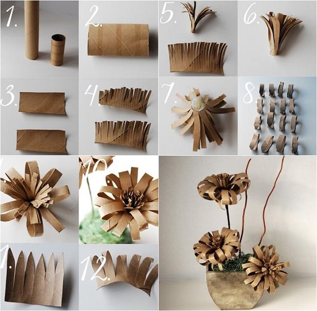 Tuvalet Kağıdı Rulolarından Yapay Çiçek Yapımı