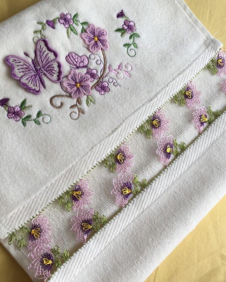 Kelebek motifli iğne oyası havlu