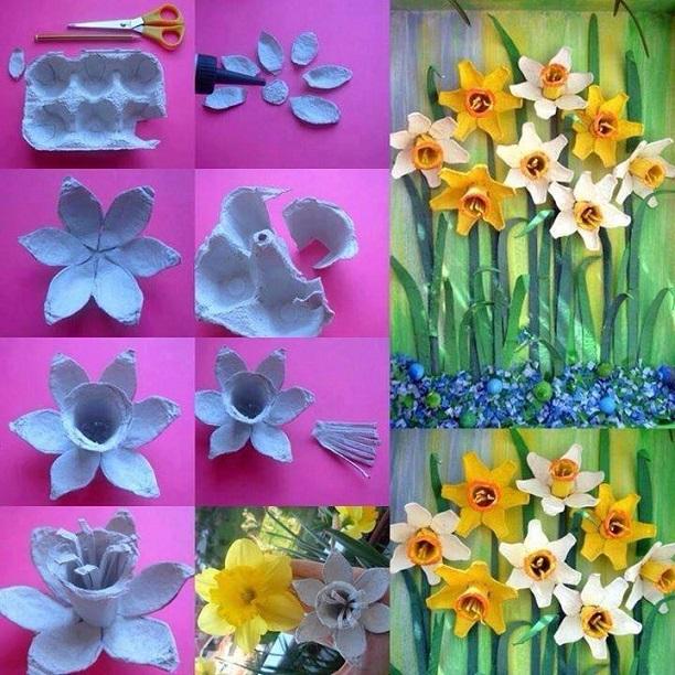 Yumurta Kartonundan Çiçekler