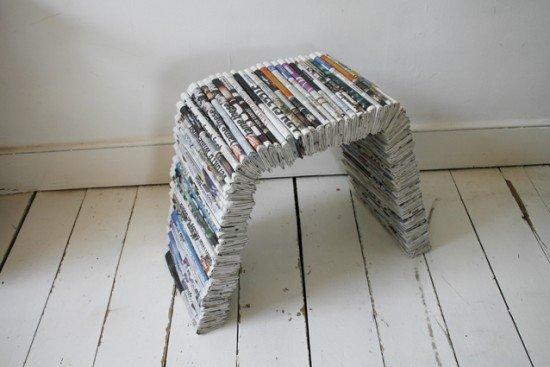 Gazete ve Dergi Kağıtlarından Masa ve Tabure Yapımı