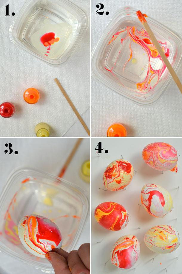 Ojeler İle Ebru Desenli Yumurtalar Yapımı 3