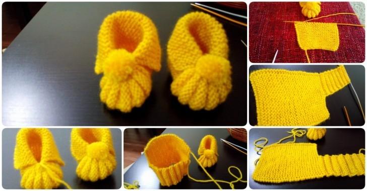 Ponponlu bebek patiği yapılışı