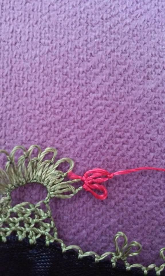 Çiçekli havlu kenarı oyası yapılışı 10