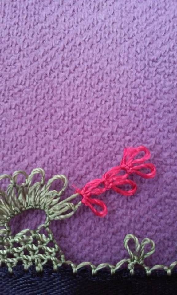 Çiçekli havlu kenarı oyası yapılışı 13