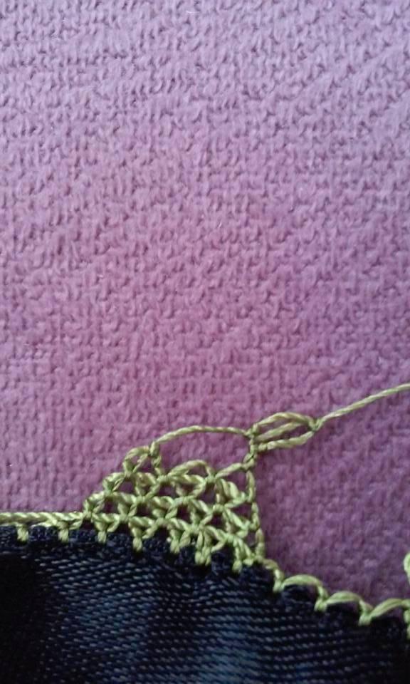 Çiçekli havlu kenarı oyası yapılışı 5