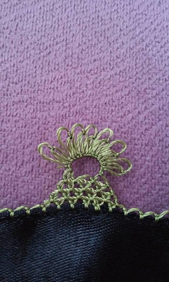Çiçekli havlu kenarı oyası yapılışı 7