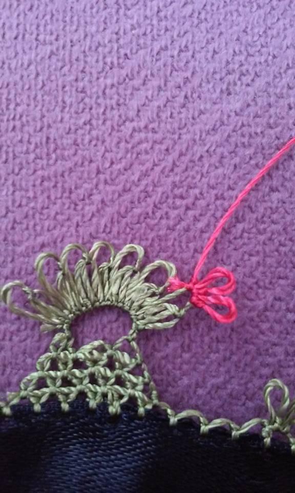 Çiçekli havlu kenarı oyası yapılışı 9