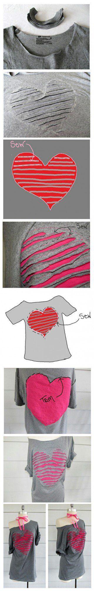 Tişörtten Kalp Desenli Bluz Yapımı