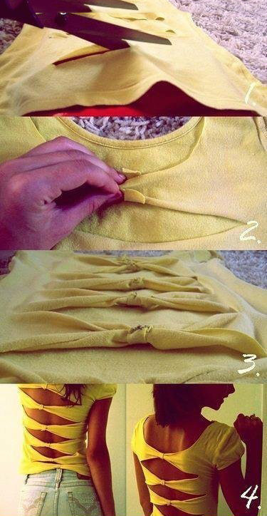 Tişörtten Kesik Sırtlı Bluz Yapımı