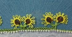 İğne oyası ayçiçeği örneği yapılışı (VİDEOLU)