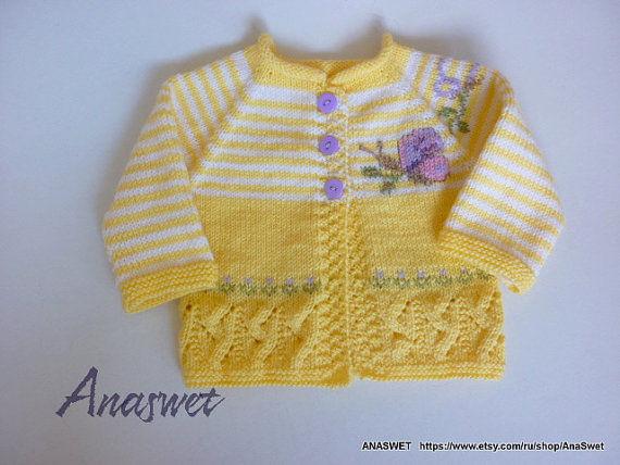 Örgü Sarı Bebek Yeleği