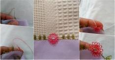 Pembe çiçekli yazma kenarı yapılışı