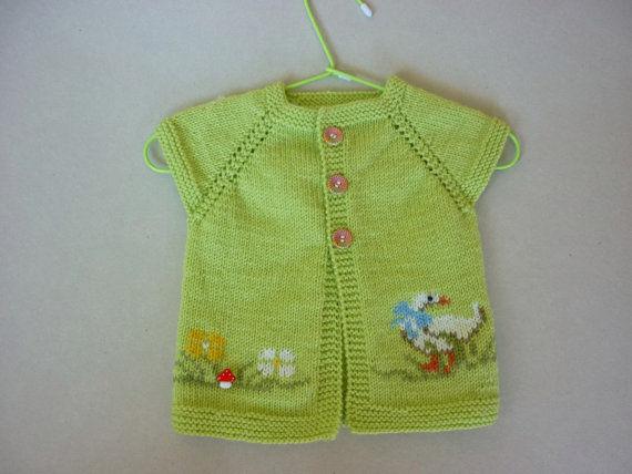 Yeşil Renk Örgü Bebek Yeleği
