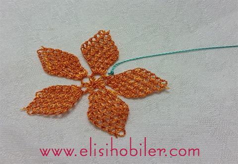 İğne oyası çarkıfelek çiçeği yapımı 29