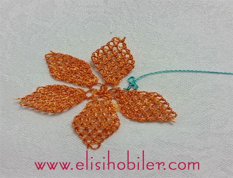 İğne oyası çarkıfelek çiçeği yapımı 32