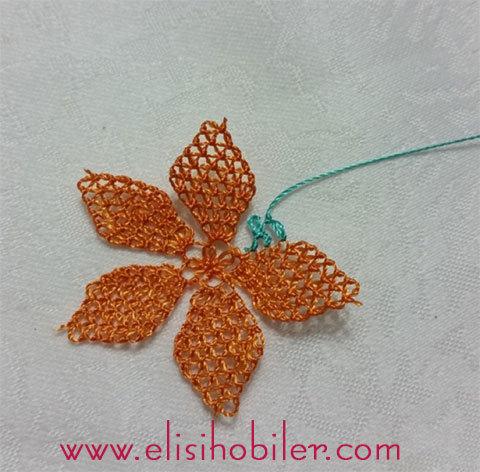 İğne oyası çarkıfelek çiçeği yapımı 34