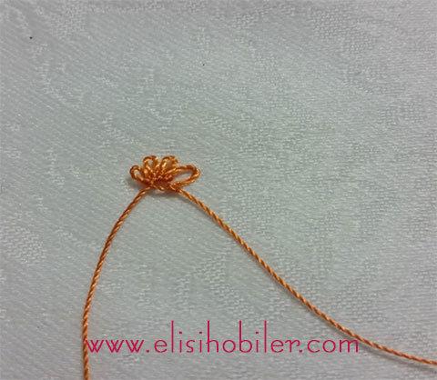 İğne oyası çarkıfelek çiçeği yapımı 7