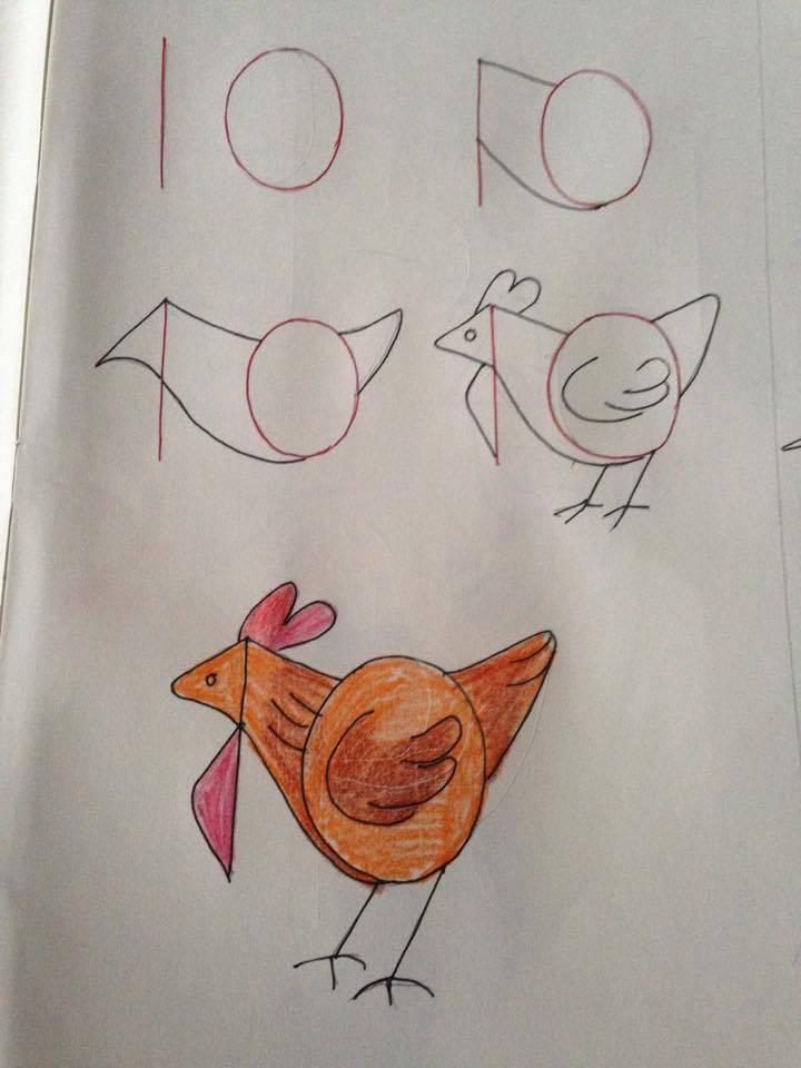 Kolay Adım Adım Tavuk Çizimi