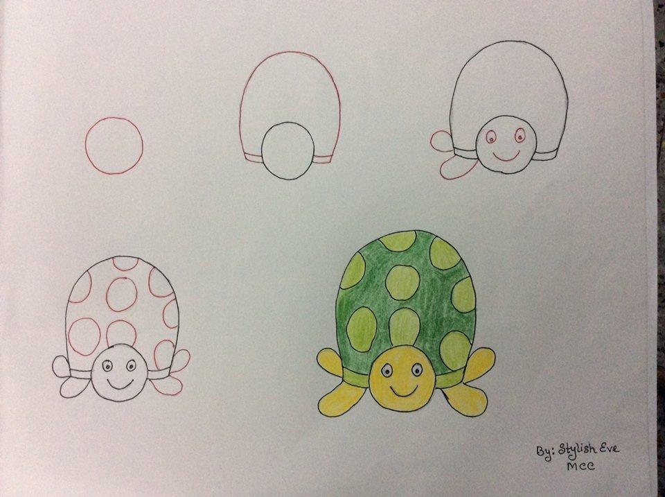 Kolay Kaplumbağa Çizimi