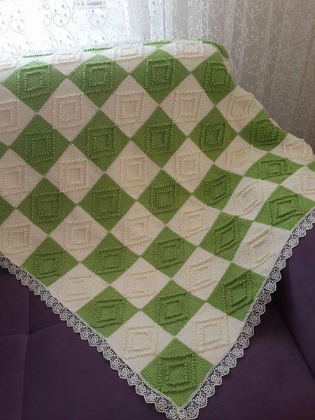Tunus işi bebek battaniye modeli
