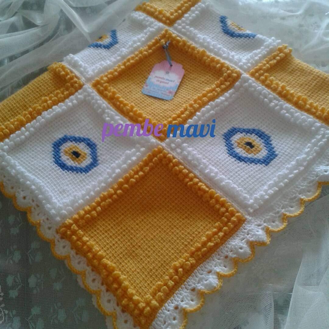 Tunus işi nazar boncuklu battaniye