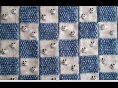 Tunus işi tavşanlı bebek battaniyesi