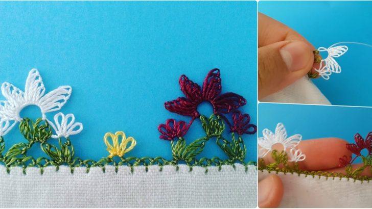 İğne oyası yıldız çiçeği yapılışı