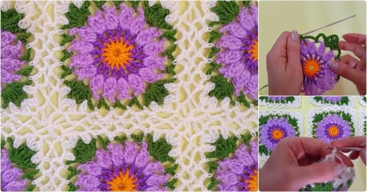 Tığ işi çiçekli bebek battaniyesi yapılışı