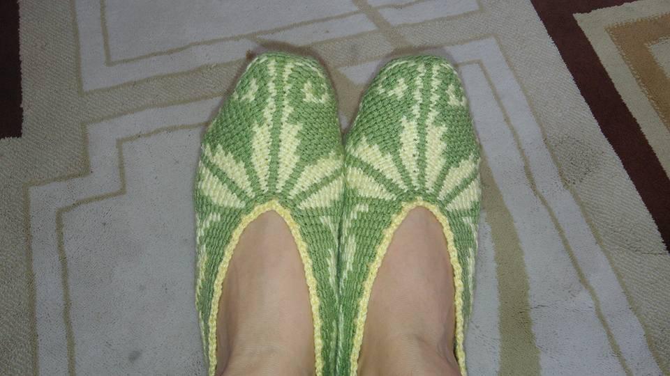 Yeşil Örgü Bayan Patik
