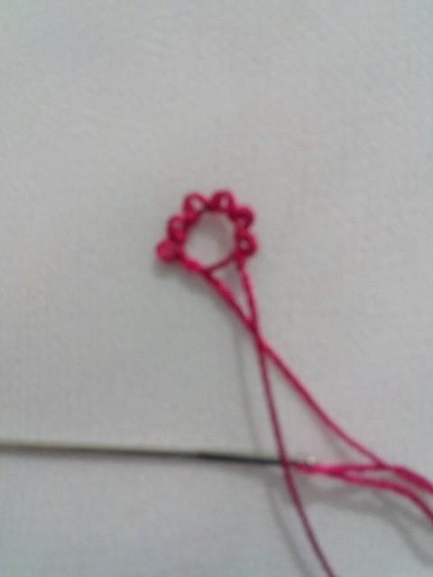 İğne oyası bamya çiçeğinin yapılışı 1