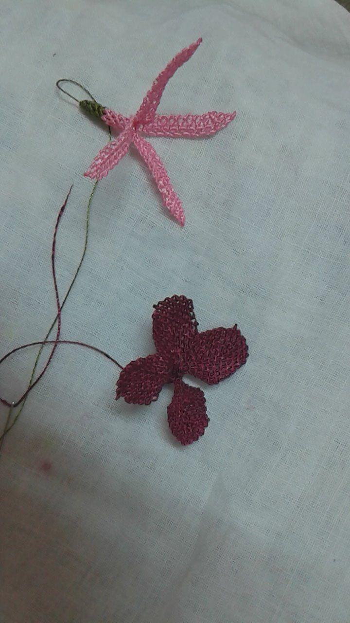 İğne oyası küpe çiçeği yapılışı 16