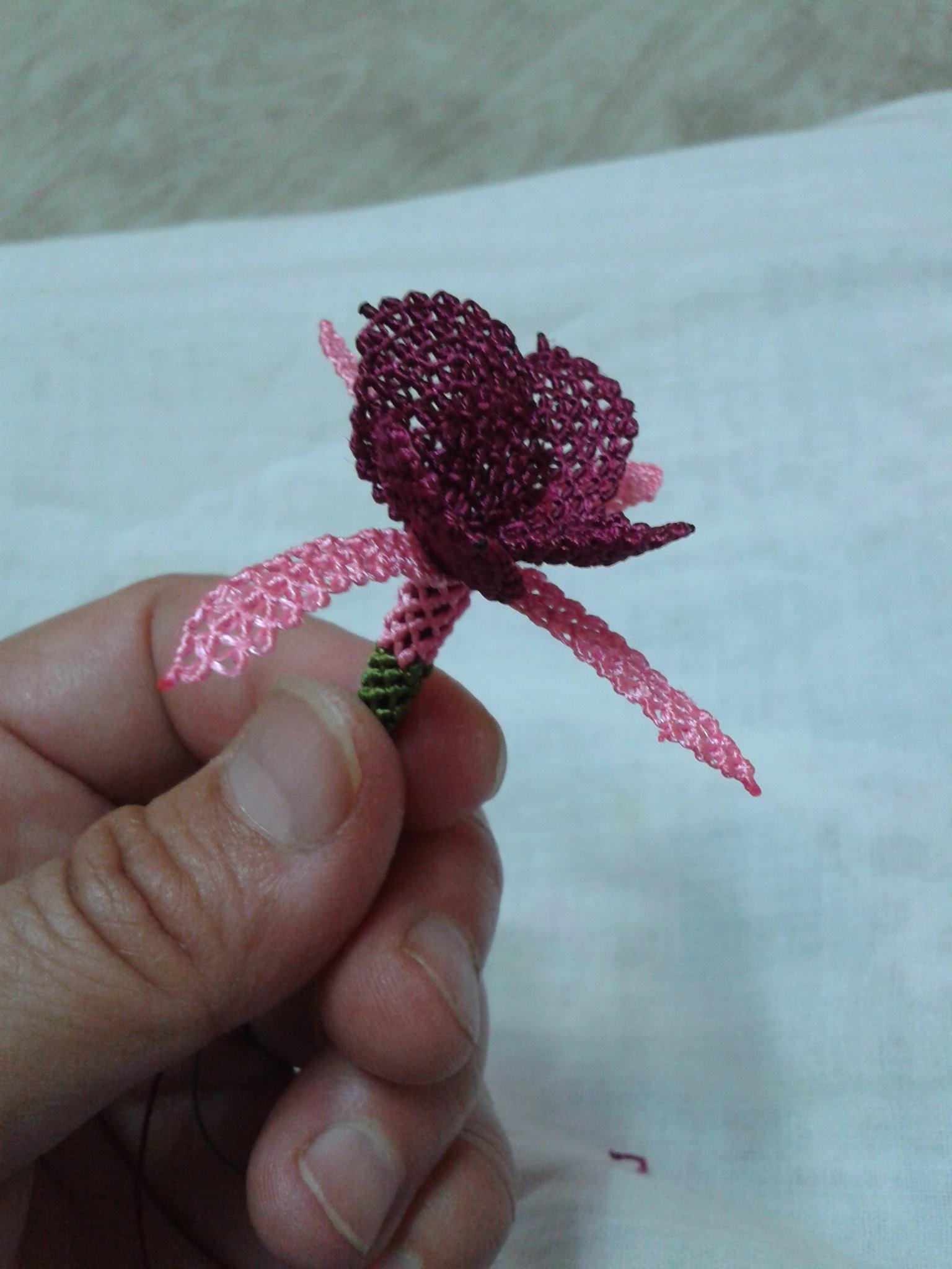 İğne oyası küpe çiçeği yapılışı 17
