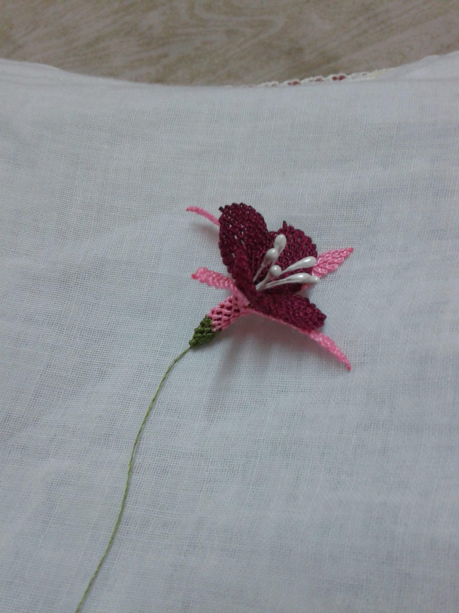 İğne oyası küpe çiçeği yapılışı 21
