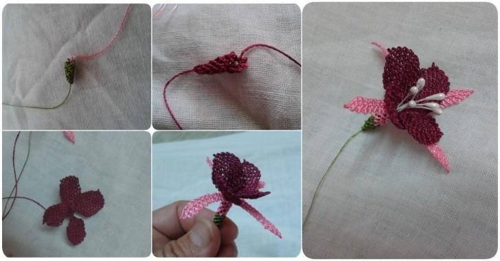 İğne oyası küpe çiçeği modeli yapılışı