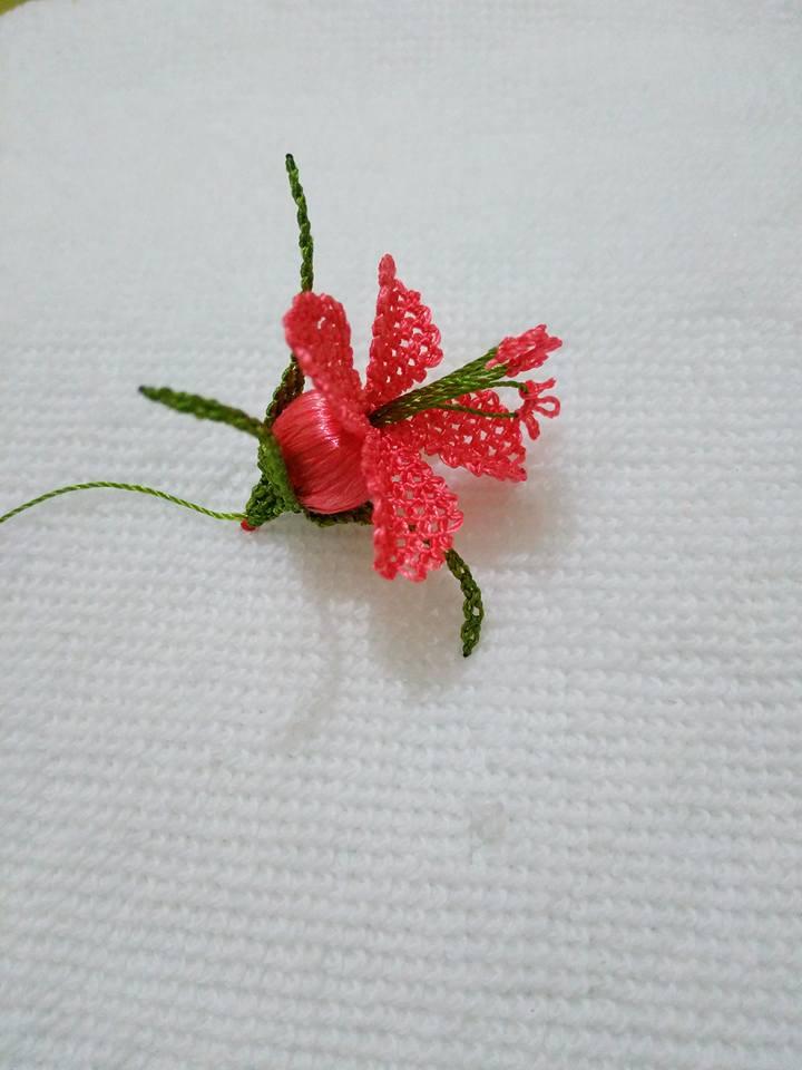 Kırmızı çiçek oyası
