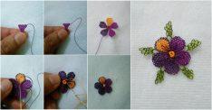 Menekşe çiçeği oyası yapılışı