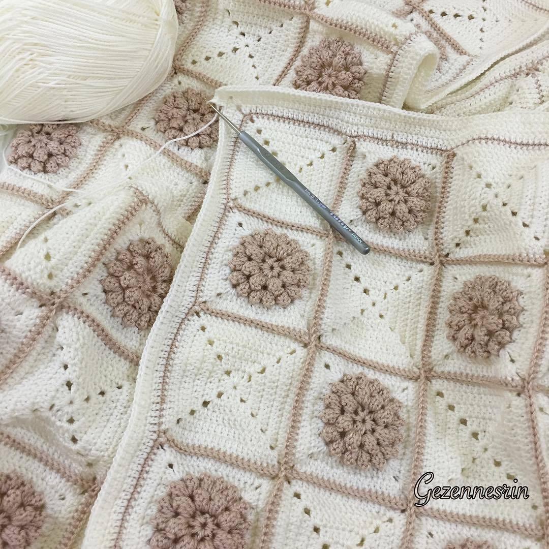 Alize ip ile yapılan bebek battaniyesi
