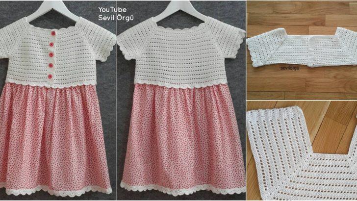 b8607350f5693 Örgü Robalı Kız Çocuk Elbisesi Yapımı - Hobiler