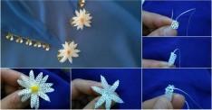 İğne oyası papatya çiçekli fular yapımı