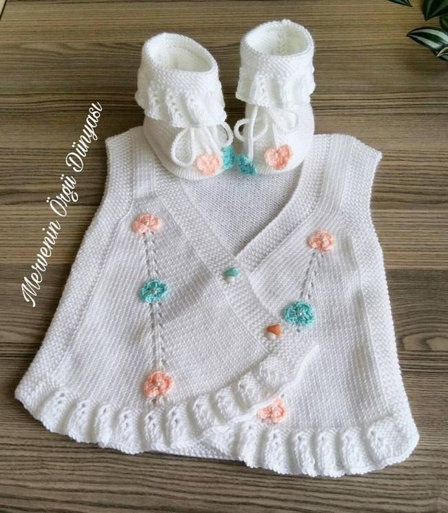 Fırfırlı Bebek Yeleği Yapılışı 8