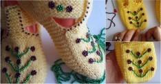Şişle Yapılan Boncuk İşlemeli Bayan Patik Modeli