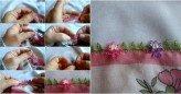 İğne oyası sinek kanadıyla çiçek yapılışı