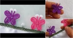 Tığ Oyası Kanatlı Kelebek Modeli