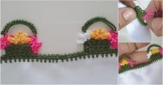 Yalancı İğne Oyası İle Sepette Çiçek Yapımı