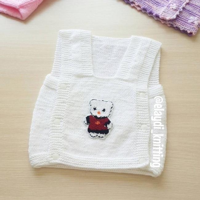 Ayıcıklı bebek yeleği yapılışı 3